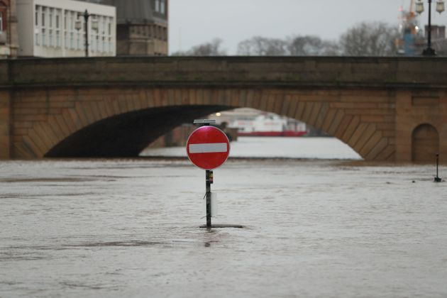Floodwaters in York, in anticipation of Storm Christoph which is set to bring further flooding, gales...