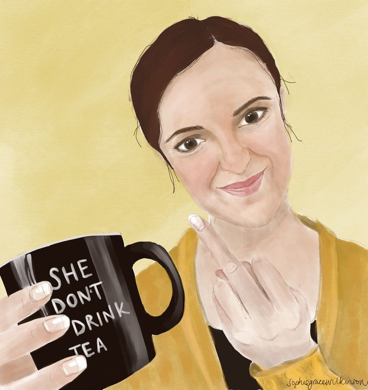 Sophie Farrow hating on tea, as captured by Sophie Wilkinson.