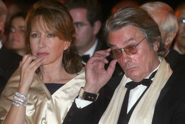 French actors Alain Delon and Nathalie Baye attend a ceremony in honor of French producer Daniel Toscan...
