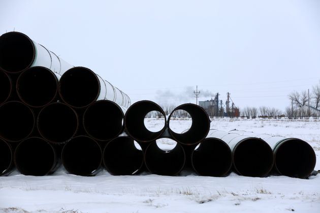 A depot used to store pipes for the planned Keystone XL oil pipeline in Gascoyne, N.D., Jan. 25, 2017.C...