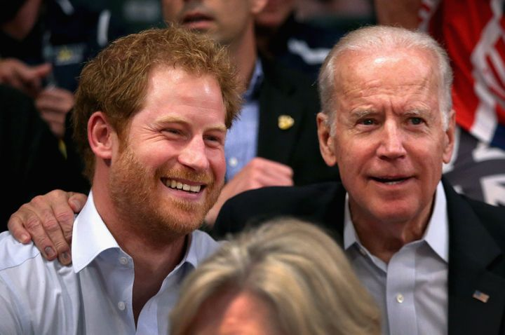 Prince Harry and Vice President Joe Biden at the 2016 Invictus Games at ESPN Wide World of Sports on May 11, 2016, in Orlando