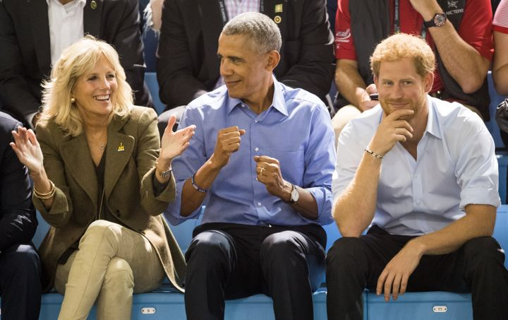 Jill Biden, Barack Obama and Prince Harry at the 2017 Invictus Games on Sept. 29, 2017, in Toronto.