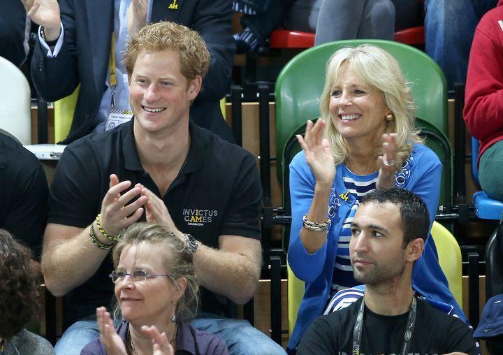 Harry and Jill Biden watch wheelchair basketball on Sept. 13, 2014, in London.