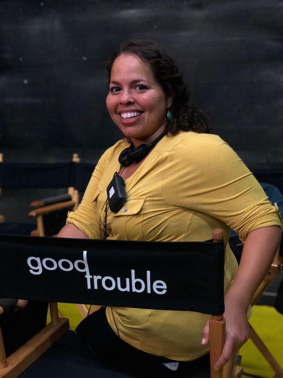 """Claudia Forestieri on the set of Freeform's """"Good Trouble."""""""