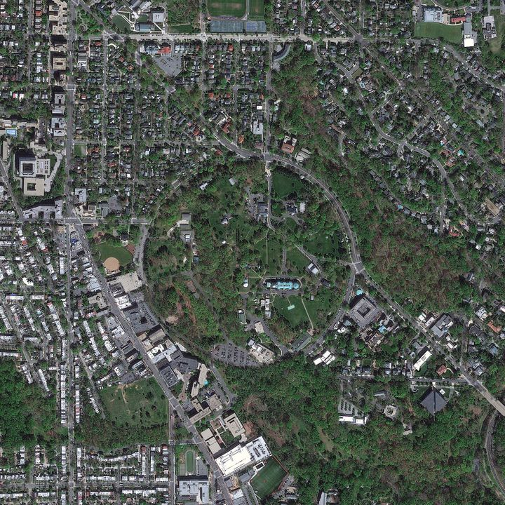 A satellite image of the United States Naval Observatory from April 2012.