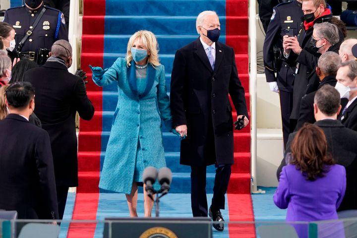 Jill and Joe Biden arrive at the inauguration.