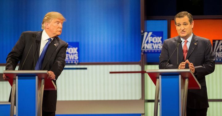 Donald Trump and Ted Cruz at a Republican presidential debate in March 2016.Many have wondered how Cruz could support Trump after the attacks Trump made on his family.