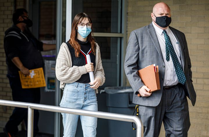 Walking with attorney Bryan McQuillan, Riley June Williams is released from Dauphin County Prison, Thursday, Jan. 21, 2021, i