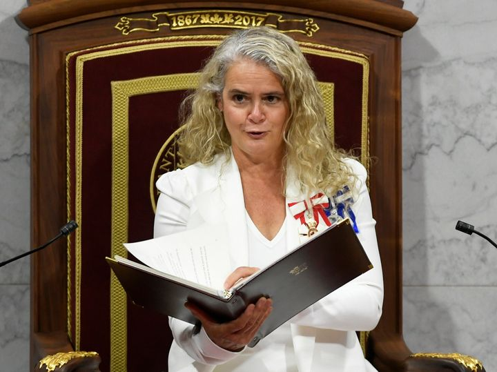 Julie Payette delivers the throne speech in the Senate chamber in Ottawa on Sept. 23, 2020.
