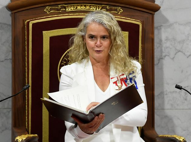 Julie Payette delivers the throne speech in the Senate chamber in Ottawa on Sept. 23,