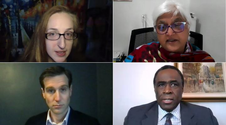 A panel of doctors provide answers to common questions about the COVID-19 vaccine on Zoom on Jan. 20, 2020. Clockwise from left, they are: Dr. Samantha Hill, Dr. Sarita Verma, Dr. Upton Allen and Dr. Noah Ivers.