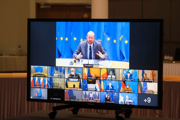 BRUSSELS, BELGIUM - JANUARY 21: EU Council President Charles Michel attends a video conference meeting...
