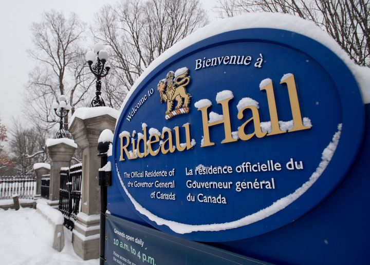 A sign along the wall surrounding Rideau Hall is seen on Jan. 21, 2021 in Ottawa. Gov. Gen. Julie Payette is resigning. The news comes as the results of an investigation into allegations of a toxic workplace environment at Rideau Hall are expected to be released.