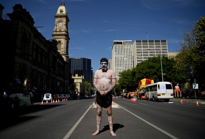 Uncle Allen Edwards pauses amid preparations for a peaceful protest to change the date of Australia Day before the Australia Day Parade in Adelaide on January 26, 2020.