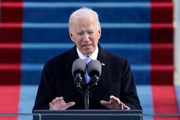 就任演説をするバイデン新大統領
