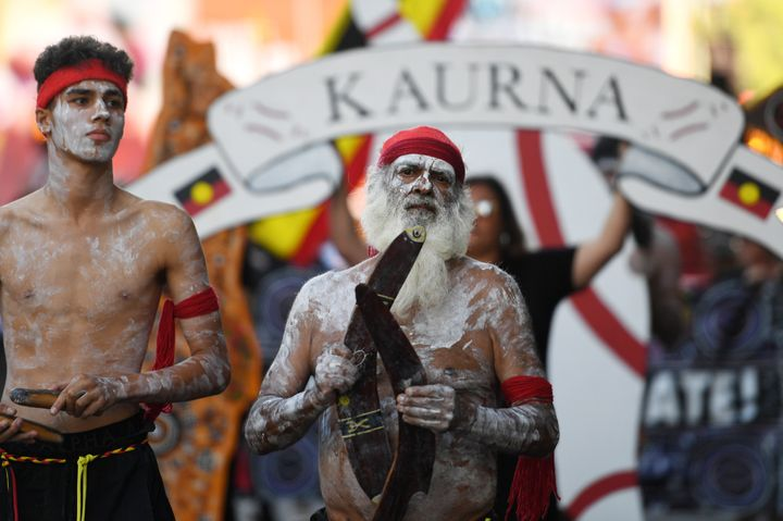 A peaceful protest is held at the start of the Australia Day Parade in Adelaide on January 26, 2020.