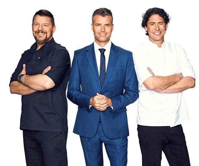 Colin Fassnidge (R) starred on 'My Kitchen Rules' alongside Manu Feildel (L) and Pete Evans (C)