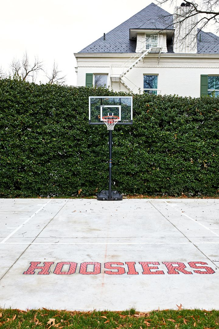 "The Pence family added the logo <a href=""https://www.washingtonpost.com/lifestyle/magazine/new-curtains-a-beehive-and-a-basketball-court-the-pences-at-the-vice-presidents-residence/2018/04/12/c3817dec-18cb-11e8-92c9-376b4fe57ff7_story.html"" target=""_blank"" rel=""noopener noreferrer"">from the movie ""Hoosiers""</a> for their time at the residence."