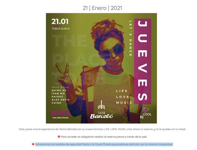Promoción de la polémica fiesta del Teatro Barceló de