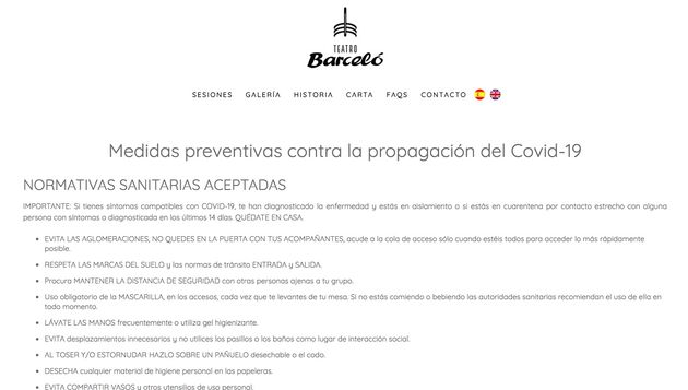 Medidas anti-Covid del Teatro Barceló de