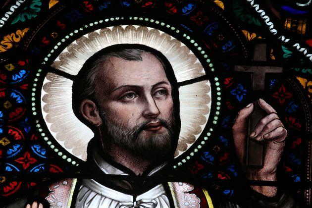Retrato en vidriera de San Francisco Javier, fundador de la Compañía de Jesús, en la Iglesia del Sagrado...