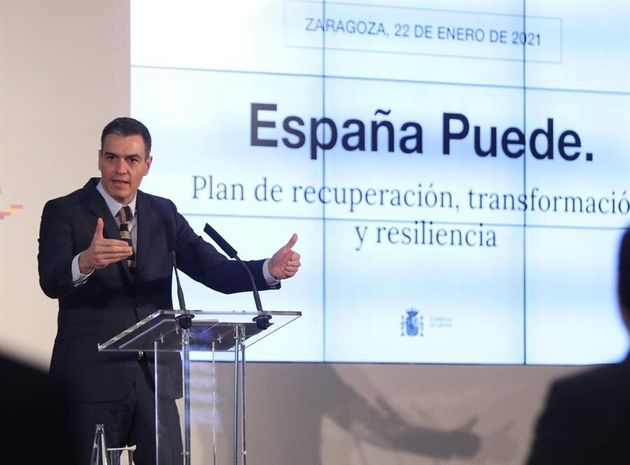 The President of the Government, Pedro Sánchez, presents in Zaragoza the Executive plan for the recovery ...