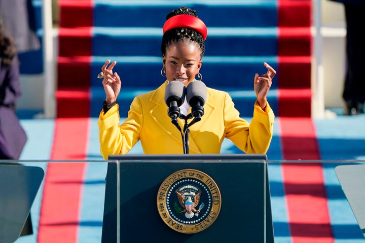 Poet Amanda Gorman reads her poem during the 59th presidential inauguration at the U.S. Capitol on Wednesday.