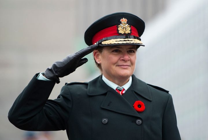 Julie Payette, then governor general, takes part in the Remembrance Day ceremony at the National War Memorial in Ottawa on Nov. 11, 2019.