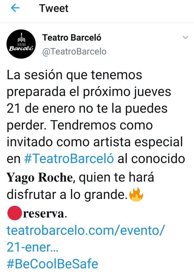Promoción que hizo el Teatro Barceló de la fiesta celebrada este