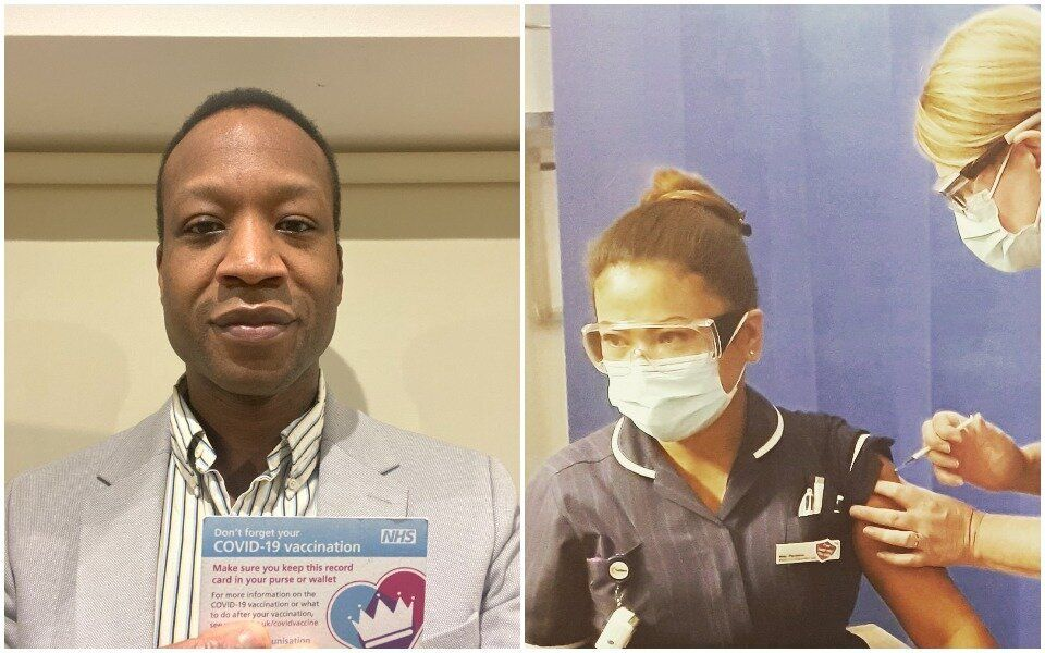 Dr Abdul Zubairu and nurse May Parsons are among the NHS staff who have received both doses of the Covid-19 Pfizer\BioNTech