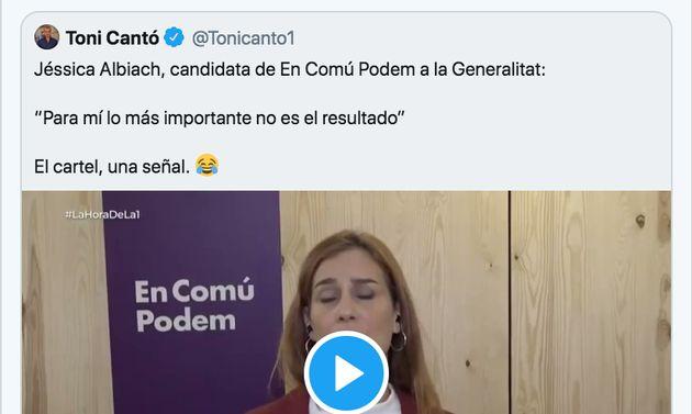 Toni Cantó le dedica un tuit a Jéssica Albiach, de En Comú