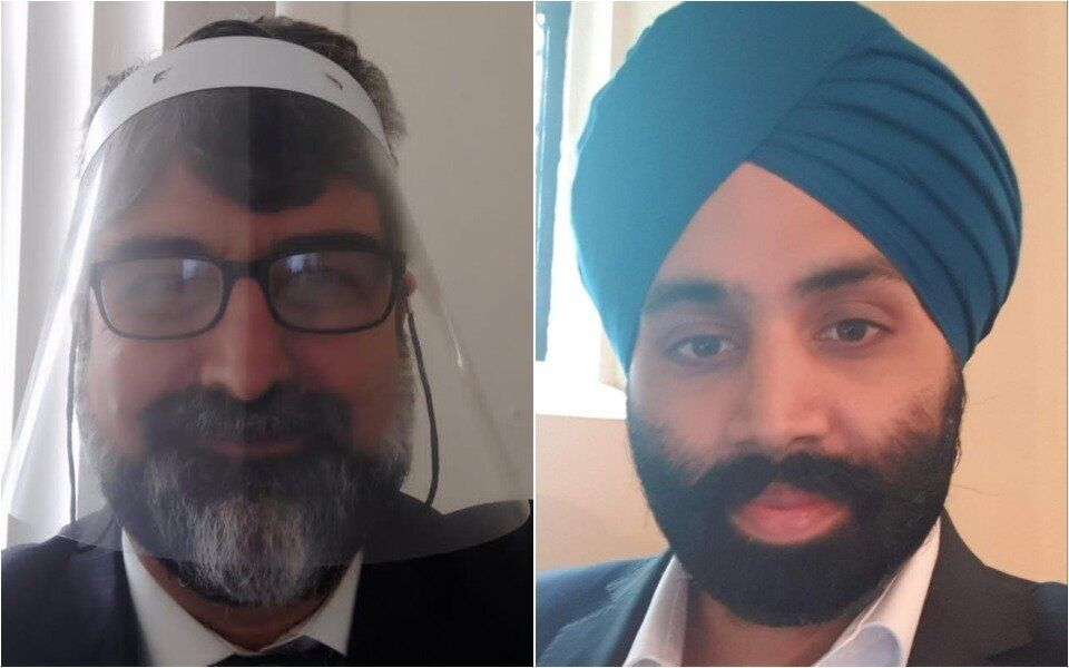 Cardiologist Dr Amer Hamed and, right, Dr Gaggandeep Singh Alg, president of the British Sikh Doctors'