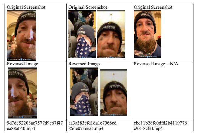 Facebook provided the federal government with images from Chris Spencer's livestream as part of a search warrant return.