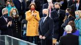 WASHINGTON, Jan. 20, 2021 -- U.S. President Joe Biden C attends the inauguration ceremony of the 46th President of the United States in Washington, D.C., the United States, on Jan. 20, 2021. At an unusual inauguration closed to public due to the still raging coronavirus pandemic, U.S. President-elect Joe Biden was sworn in as the 46th President of the United States on Wednesday at the West Front of the Capitol, which was breached two weeks ago by violent protesters trying to overturn his election victory. (Photo by Liu Jie/Xinhua via Getty) (Xinhua/Liu Jie via Getty Images)