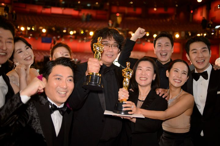 The cast and crew of Parasite at the Oscars last February.