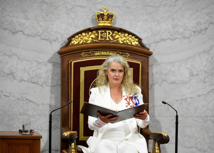 Gov. Gen. Julie Payette delivers the throne speech in the Senate chamber in Ottawa on Sept. 23, 2020.