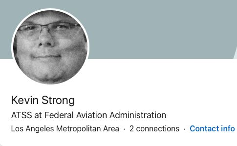 Strong's LinkedIn profile lists him as working at the Federal Aviation Administration.