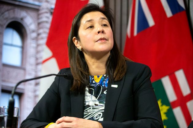 Dr. Eileen de Villa, Medical Officer of Health for the City of Toronto attends a news conference in Toronto...