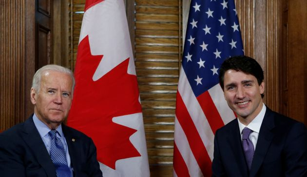 Justin Trudeau and Joe Biden take part in a meeting in Trudeau's office on Parliament Hill in Ottawa,...