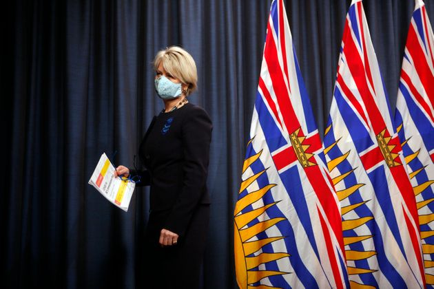 Dr. Bonnie Henry leaves the podium after talking about the next steps in B.C.'s COVID-19 Immunization...