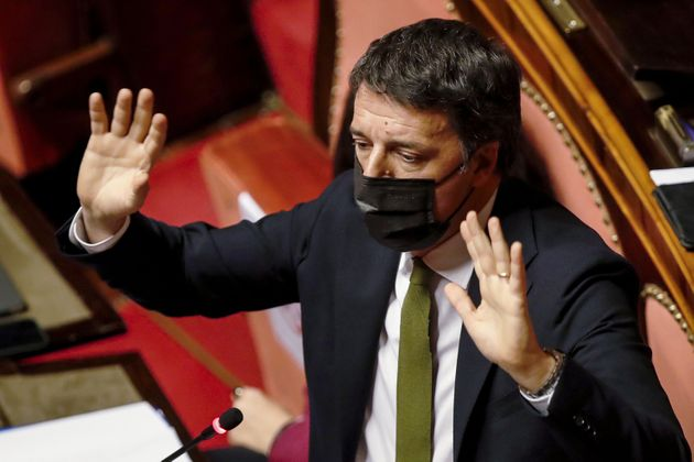 Italia Viva party leader Matteo Renzi addresses the Senate prior to a confidence vote on January 19,...