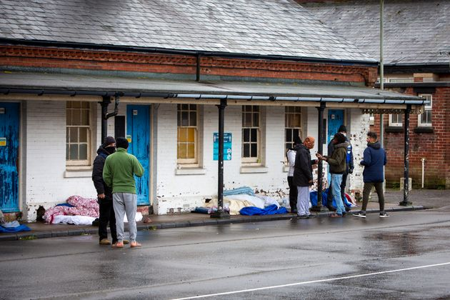 Asylum seekers held inside Napier Barracks sleeping outside in protest against conditions on January 12.