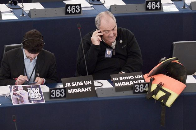 Italian members of the EU Parliament Brando Benifei (L) and Goffredo Maria Bettini attend a debate on...
