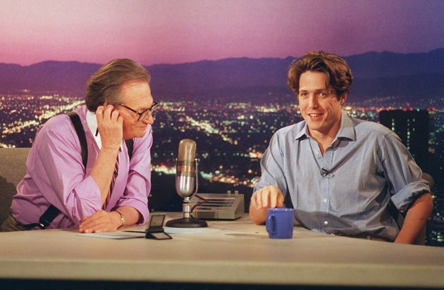 Hugh Grant being interviewed by Larry King during a taping of Larry King Live in Los Angeles Wednesday, July 12, 1995.
