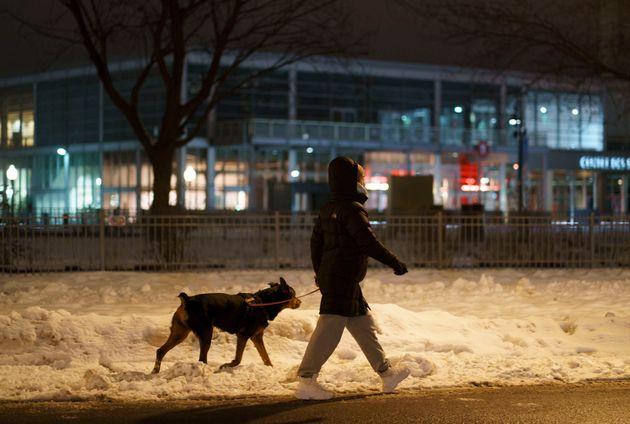 Une femme promène son chien, à Montréal, un peu avant le couvre-feu de 20 heures...