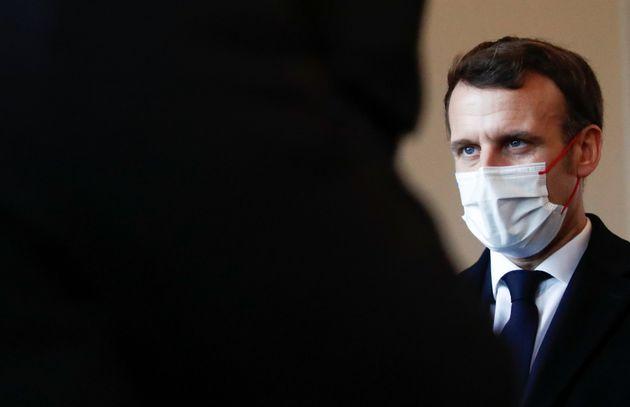Emmanuel Macron photographié à Brest lors des voeux aux armées le 19 janvier
