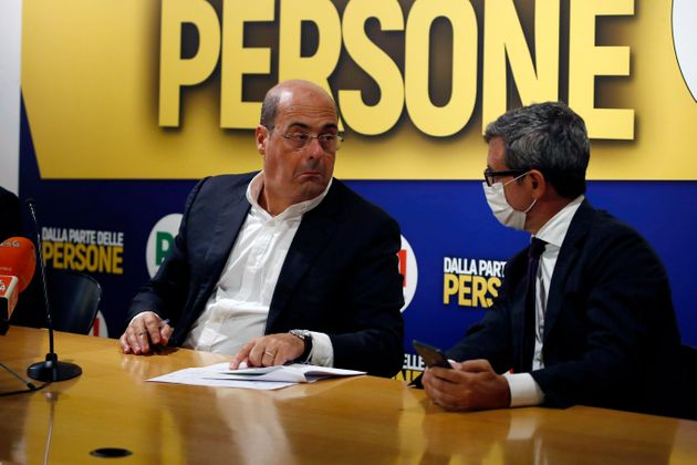 The Secretary of the Democratic Party Nicola Zingaretti and the deputy Andrea Orlando during a press...