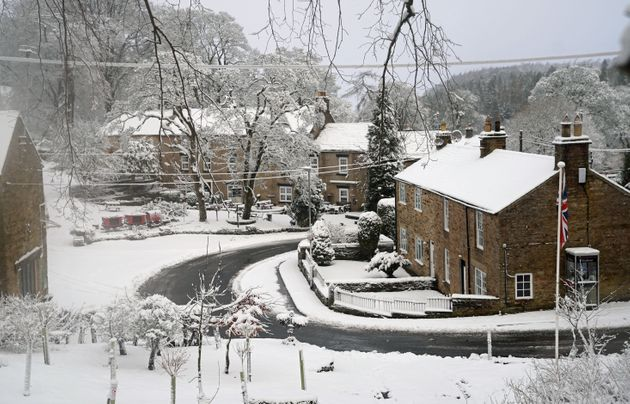 Snow covers the village of Allenheads, Northumberland.