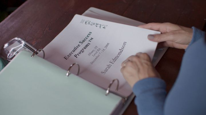 "Sarah Edmondson's NXIVM course materials from 2006, as seen on ""The Vow."""