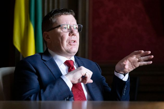 Premier Scott Moe speaks in a year-end interview with The Canadian Press in the cabinet room at the Legislative...